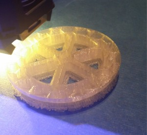3D Print of a wheel nearing the half way complete mark after 2-1/2 hours