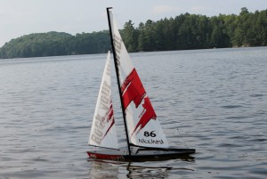 RC Sailboat in Calm Wind