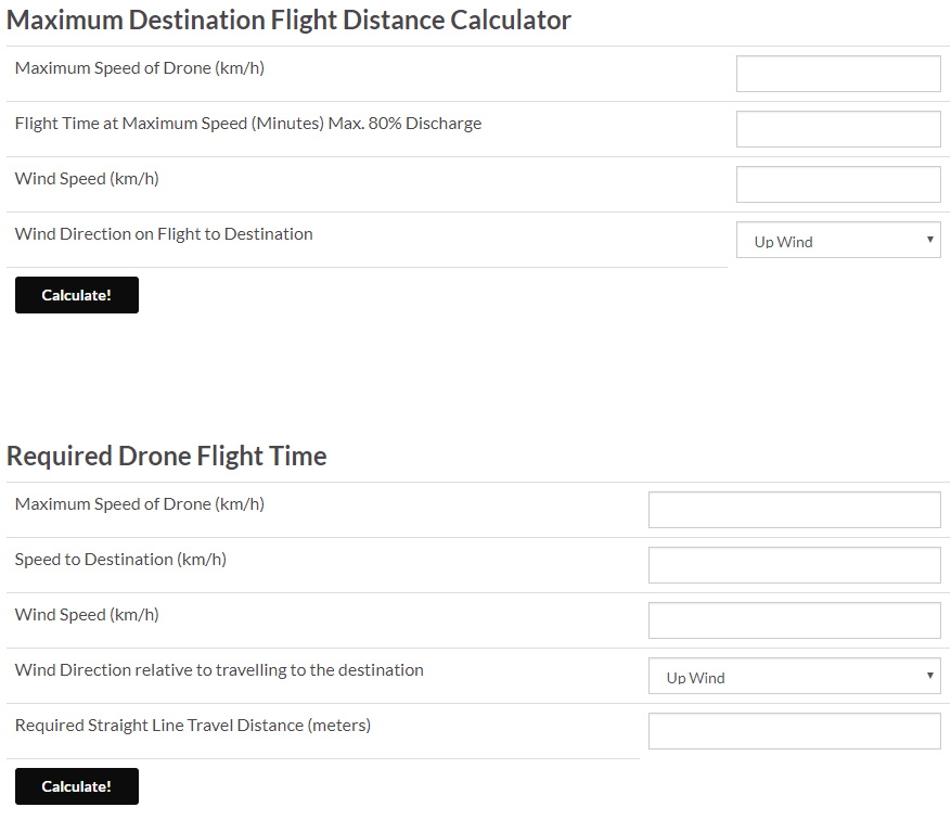 RC Drone Maximum Distance and Flight Time Calculator