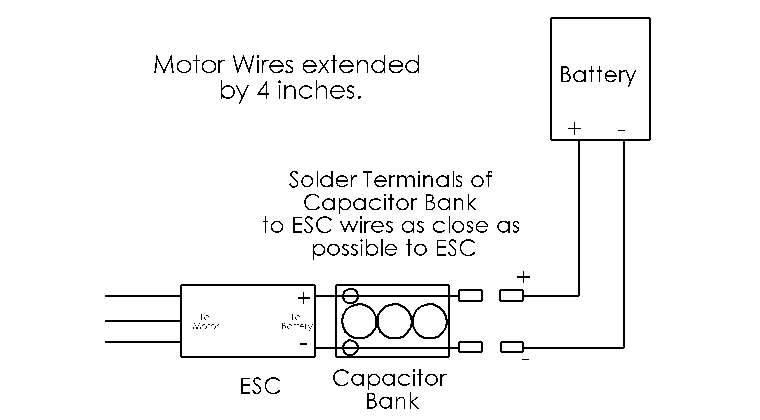 How to Solder Capacitor Bank to Extend ESC Wires