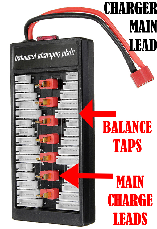Parallel Charging Board consisting of balance taps and main charge lead