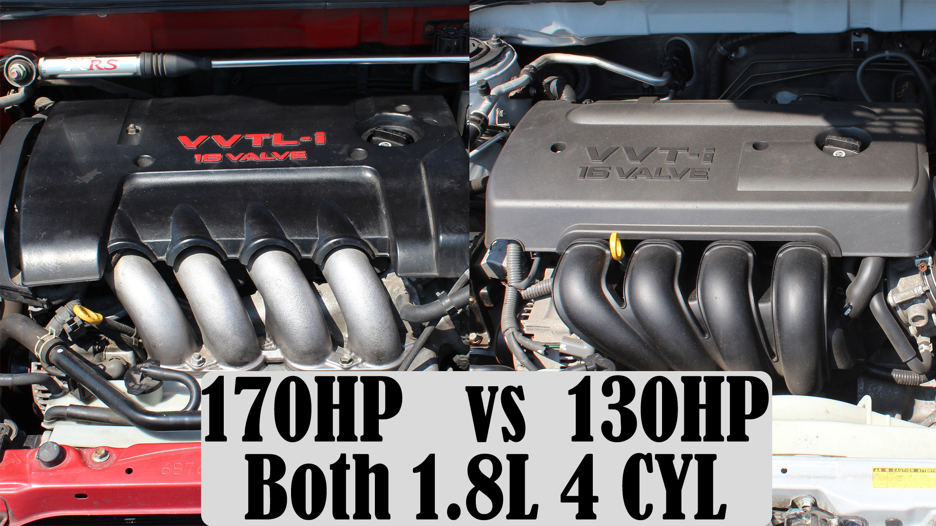 Comparing 2 Toyota Engines that have the same displacement but different power outputs.