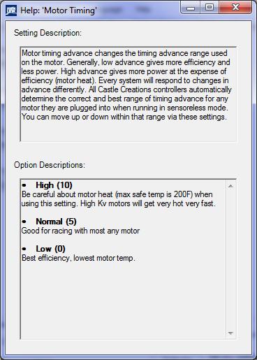 Brushless Motor timing selection