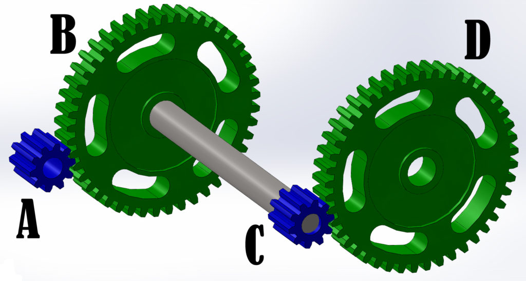 2 Meshing Sets of Gears - Output of Set one Connected to Input of Set 2
